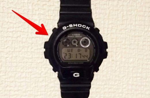 GショックDW-6900の「左上」のボタンを示す画像