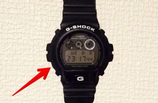 GショックDW-6900の「左下」のボタンを示す画像